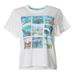 Chubby Mermaids Juniors Manatee Photo Graphic T-Shirt