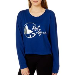 Reel Legends Juniors Cropped Metallic Logo Long Sleeve Top