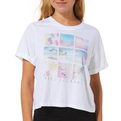 Reel Legends Juniors Cropped Distressed Graphic T-Shirt