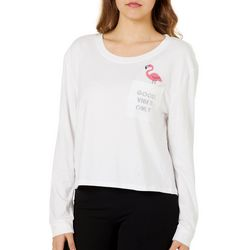 Reel Legends Juniors Cropped Good Vibes Only Flamingo Top