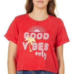 Reel Legends Juniors Cropped Good Vibes Only T-Shirt