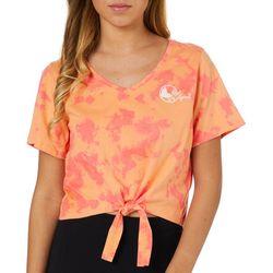 Reel Legends Juniors Cropped Tie Dye Tie Front T-Shirt