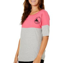 Reel Legends Juniors Colorblock Logo Short Sleeve Top
