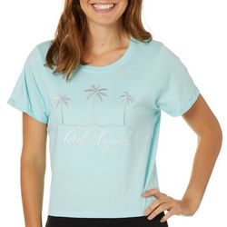 Reel Legends Juniors Cropped Palm Tree Embroidered T-Shirt