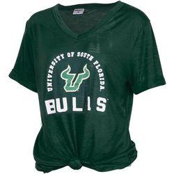 USF Bulls Juniors USF Logo Knot Front T-Shirt By Zoozatz