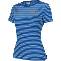 Florida Gators Juniors Ribbed Stripe Logo T-Shirt By Zoozatz