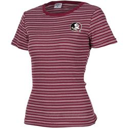 Florida State Juniors Ribbed Stripe Logo T-Shirt By Zoozatz