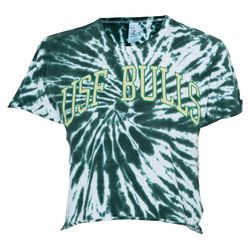 USF Bulls Juniors Tie Dye Cropped T-Shirt by Zoozats