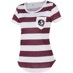 Florida State Juniors Striped Pocket T-Shirt By Zoozatz