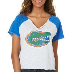 Florida Gators Juniors Split Neck Logo T-Shirt By Zoozatz