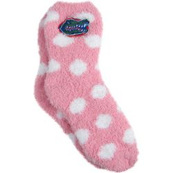 Florida Gators Juniors Fuzzy Polka Dot Crew Socks By Zoozatz