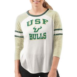 USF Bulls Juniors Athletic Striped Top By G-III Apparel