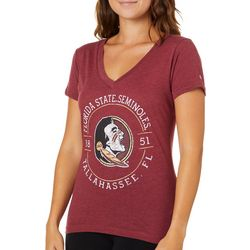 Florida State Juniors Script V-Neck T-Shirt By Champion