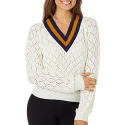 Derek Heart Juniors Textured Knit V-Neck Sweater