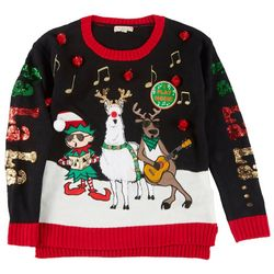 Fashion Ave Knits Juniors Holiday Printed Musical Sweater