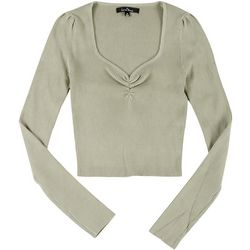Love Tree Juniors Rouched Sweetheart Cropped Sweater