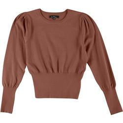 Love Tree Womens Solid Puff Sleeve Sweater