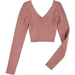 Love Tree Juniors Rib Knit Long Sleeve Crop Top