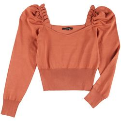 Love Tree Womens Solid Ruffled Puff Sleeve Sweater