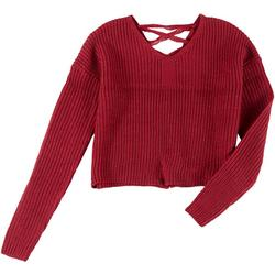 Juniors Solid Crisscross Sweater
