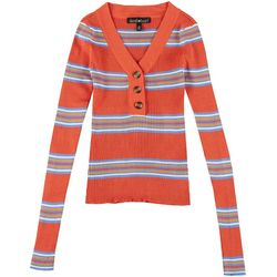 Derek Heart Juniors Striped Quarter Button Sweater