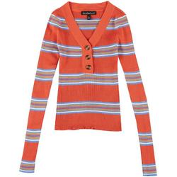 Juniors Striped Quarter Button Sweater