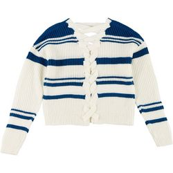 Derek Heart Juniors Striped Crisscross Sweater