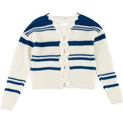 Juniors Striped Crisscross Sweater