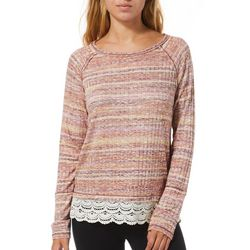 Jolt Juniors Heathered Stripe Lace Trim Long Sleeve Top