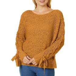 Rewind Juniors Solid Lace-Up Long Sleeve Sweater