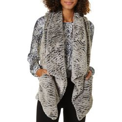 Jolt Juniors Heathered Faux Fur Open Front Sleeveless Vest