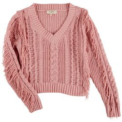 No Comment Juniors Fringe Crop Sweater