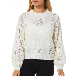 No Comment Juniors Solid Ribbed Knit Long Sleeve Sweater