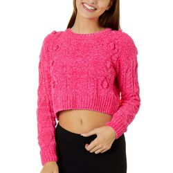 No Comment Juniors Solid Cable Knit Cropped Sweater