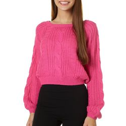 Juniors Cropped Solid Cable Knit Sweater