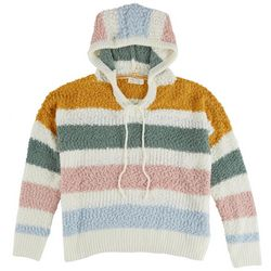 Full Circle Trends Juniors Striped Hooded Sweater