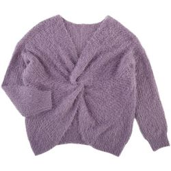 Made with Love Juniors Solid Twisted Fuzzy Sweater