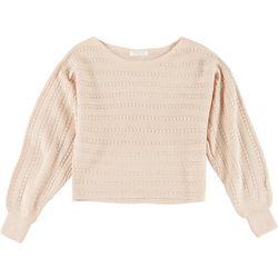 Full Circle Trends Juniors Solid Perforated Sweatshirt