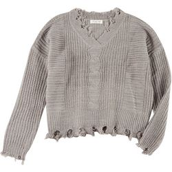 Full Circle Trends Juniors Solid Distressed Crochet Sweater
