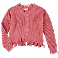 Juniors Solid Distressed Crochet Sweater