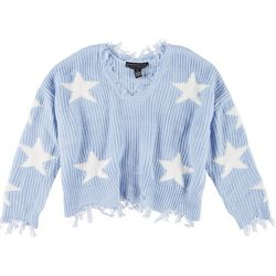 Polly & Esther Juniors Distressed Star Crop Sweater