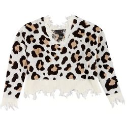 Polly & Esther Juniors Distressed Leopard Crop Sweater