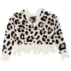 Juniors Distressed Leopard Crop Sweater