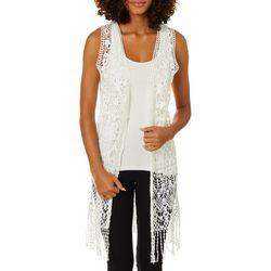 Say What? Juniors Crochet Fringe Open Sleeveless Vest