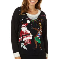 Juniors Embellished Dancing Rudolph Sweater
