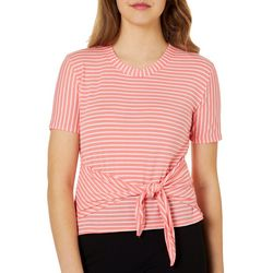 Poof Juniors Cropped Striped Tie Front Top