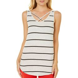 Poof Juniors Striped Crisscross Tank Top