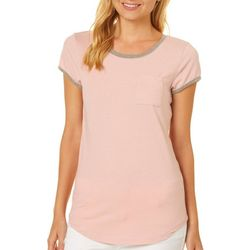 Poof Juniors Solid Contrast Trim Pocket Top