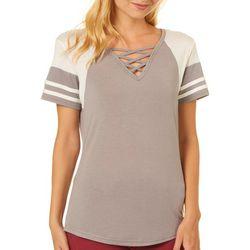 Poof Juniors Colorblock Crisscross Neck T-Shirt