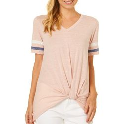 Poof Juniors Stripe Knot Front V-Neck Top